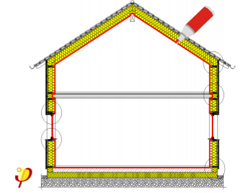 the most important principle for energy efficient construction is a continuous insulating envelope all around the building yellow thick line - Thermal Envelope House Plans